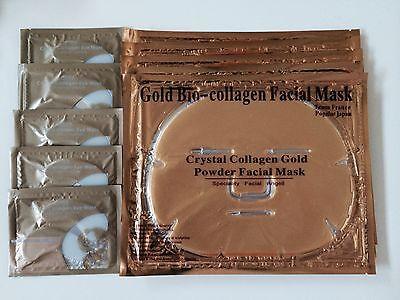 ( 10 )  5 Pieces Gold Bio Collagen Facial Face Mask + 5 Pairs Pilaten Eye Pad