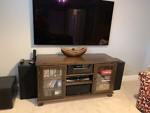 Tv media hutch cabinet in real wood