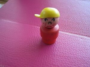 Fisher-Price-Little-People-Play-family-grumpy-red-boy-yellow-hat-wood-body-bus