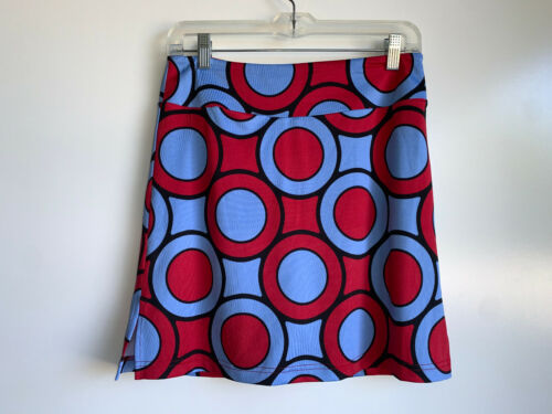 Golftini Monopoly Red Blue Circle Print Pull On Tech Golf Skort Size XS/Small