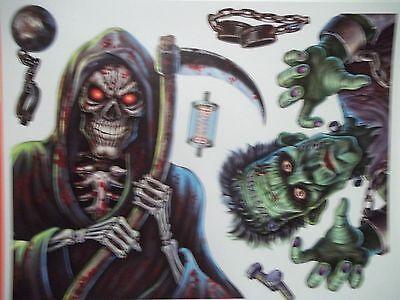 Zombie Grim Reaper Blood Sign Ghost Pumpkin Eyes Happy Halloween Window Clings