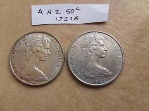 1966 AUSTRALIAN 50 CENT COIN AND NZ ROUND 50 CENT Breamlea Outer Geelong Preview