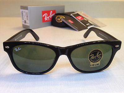 Ray Ban New Wayfarer Sunglasses Green Lenses Black Frame Size 55MM