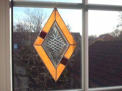 TIFF - Fensterbild Sonnenfänger, gelb , Facette mit geschliffenem Motiv,