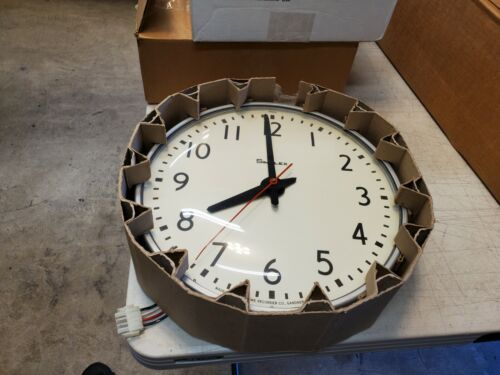 """Large 14"""" Vintage SIMPLEX Electric Wall Clock Model 95925 New"""