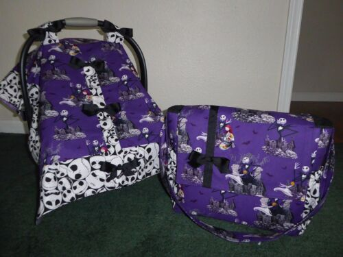 **NIGHTMARE BEFORE CHRISTMAS** Diaper Bag & Handmade Baby Car Seat Canopy-Cover