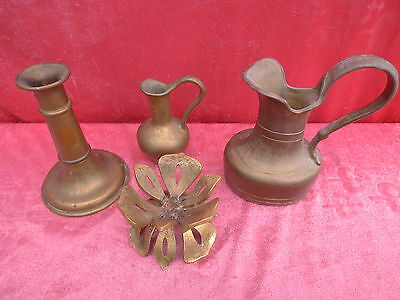 4 Vintage Bronze (Brass) Parts __ 2 Jugs __ 2 Chandelier ___
