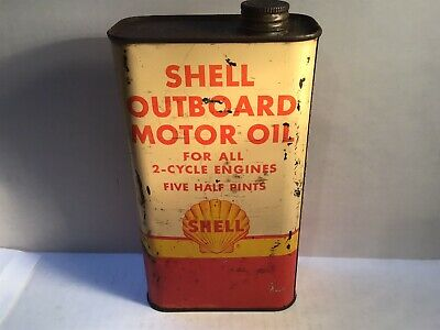 Vintage Shell Outboard Oil Can Quart Metal gas rare sign tin 4 handy GM Imperial