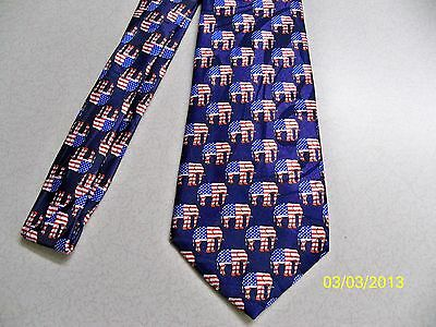Political G.O.P. Republican party, U.S. Flags + elephant theme men's necktie - Political Party Themes