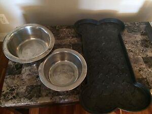 Dog Food Bowls and Mat
