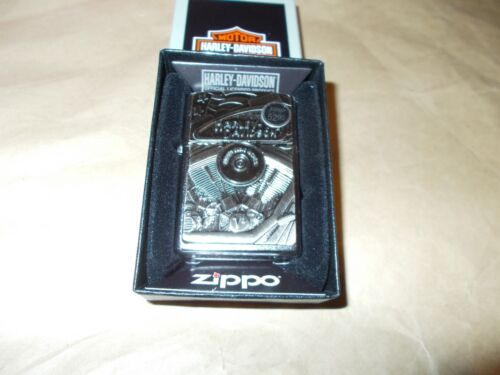 New Zippo Harley Davidson Emblem Lighter With Motor, Flag and Eagle,, NIB