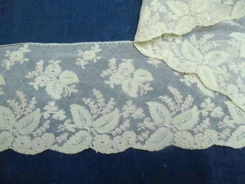 Antique Victorian Embroidered Lace edge