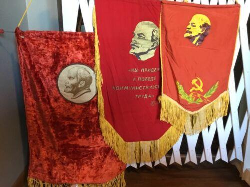 Vintage USSR Soviet LENIN Propaganda FLAG/BANNER (set of 3)