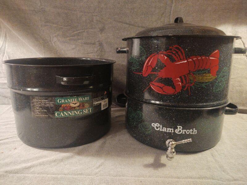 Large Vintage Graniteware Enamel Lobster Clams Corns Canning Metal Pots