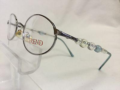 Vintage Trend Eyewear Eyeglasses Silver Metal Clear, Blue Beads Fun Collectible (Clear Eyeglass Frames Trend)