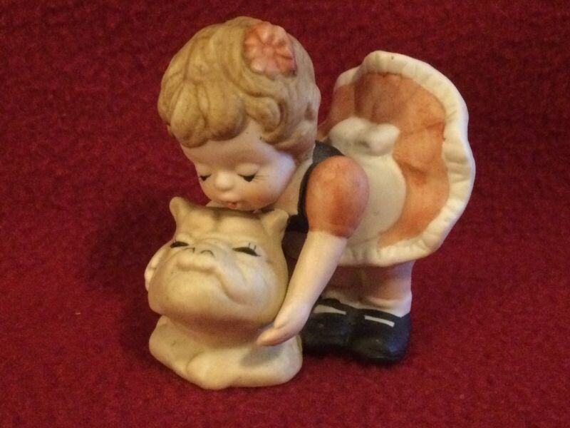 """Vtg. Bisque Ceramic """"Little Girl with her Bulldog"""" figurine approx. 2.5"""" x 2.75"""""""