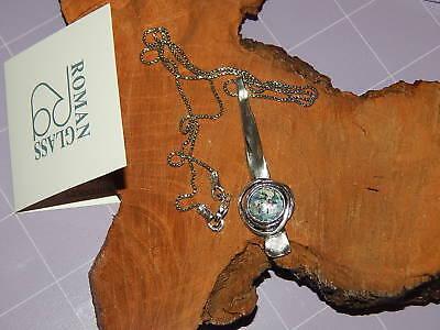 Women's Roman Glass Textured Pendant Necklace Sterling Silver EXQUISITE! Glass Textured Sterling Silver Necklace