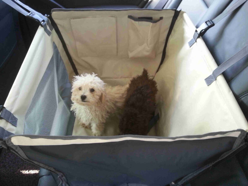 Dog/Cat Car Carrier Seat Cover Playpen-2 Storage Pouches-See through Mesh Window