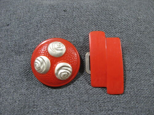 Vintage art deco silvertone flowers red celluloid button & galalith buckle piece
