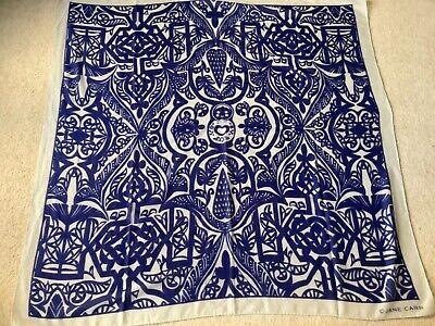 Jane Carr 130 cm Square Scarf / Wrap 100% Wool Blue / Lt. Grey Designer Sample