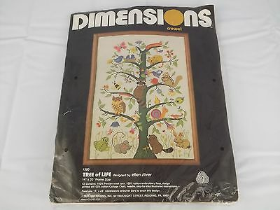Vintage Crewel Embroidery Kit Tree of Life 1200 Dimensions 1981 Complete Defects