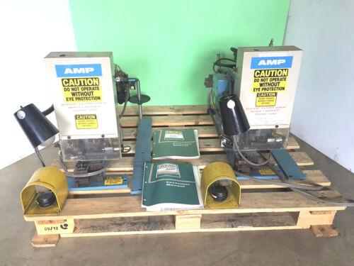 Set Of (2) Amp Crimper Press Wire Terminal Machines, 1-453973-2-at & 453973-3-au