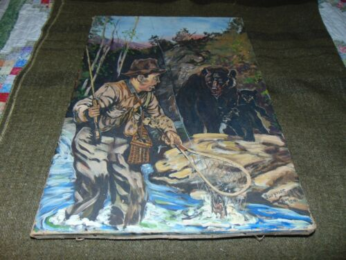 """Fly Fisherman & Grizzly Bear Original Oil on Canvas """" SURPRISE """" By Ray Safford"""