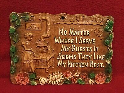 "Vintage 1960's SyrocoWood ""Kitchen Prayer"" Wall Plaque approx. 8.25"" x 5.5"""