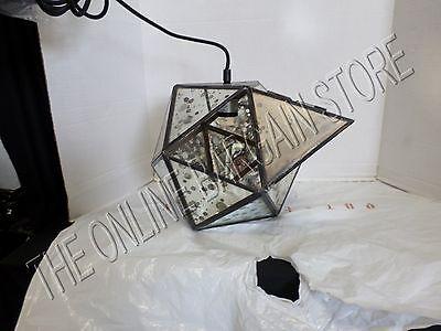 Pottery Barn West Elm Foxed Mirror Faceted Pendant Chandelier Light Bronze crack