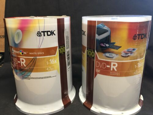 TDK DVD-R Print On White Discs Spindle Pack Of 100 New Seal