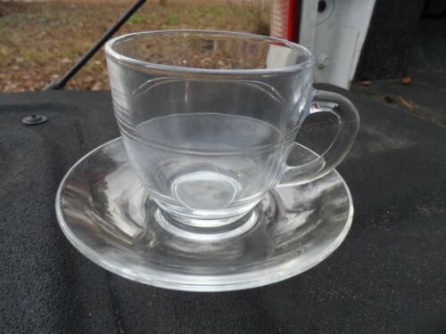 4 Duralex France Clear Glass Hot or Cold Cup & Saucer Set    EUC 2 sets avail