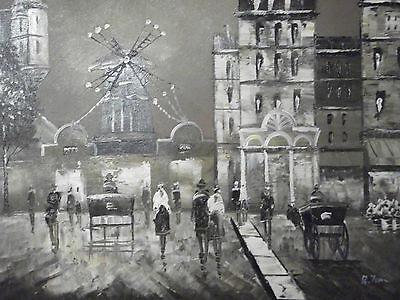 Paris moulin rouge large oil painting canvas original French city scape European