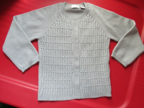 TSE Baby 100% Cashmere Gray With Blue Stitch Detail Snap Front Cardigan Sweater