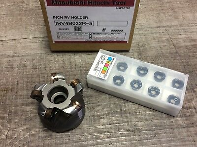 New Hitachi 1 34 Indexable Face Mill W. 34 Arbor Hole Inserts