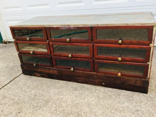 Antique Mercantile Display Cabinet W/ 9 Glass Front Drawers Surface Clean Sealed