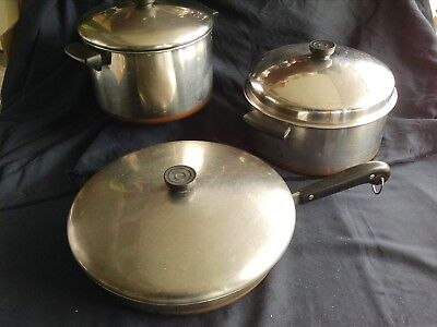 6 PC LOT REVERE WARE POTS AND PANS KITCHENWARE VINTAGE 1950s COOKWARE WITH (Revere Pots And Pans)