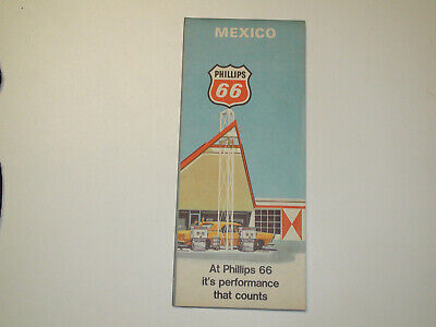 Vintage 1969 PHILLIPS 66 Mexico Road Travel Map - VG