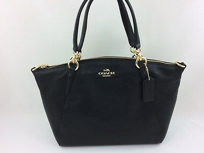 New Authentic Coach F28993 Small Kelsey Satchel Purse Handbag Gold Black leather