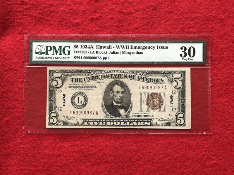 FR-2302 1934 A Series Hawaii WWII $5 Federal Reserve Note *PMG 30 Very Fine*