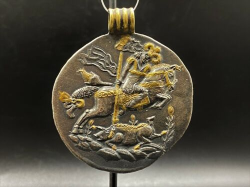 Old Ancient Antique Sasanian Empire Silver and Gold Pendant  Collectable Item