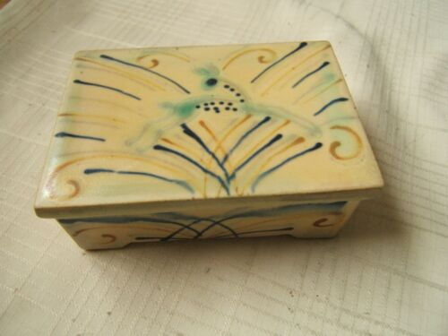 ART DECO POTTERY BOX DENMARK SIGNED WITH DEER