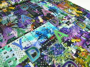 ☻ Stoff Designer Jersey Digitaldruck Patchwork Nieten Buchstaben bunt bedruckt ☻