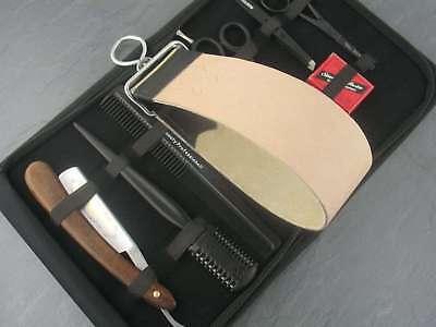 Rasiermesser-Set Paste Solingen 9er Set Echt Leder Abziehleder Riemen Haarschere ()