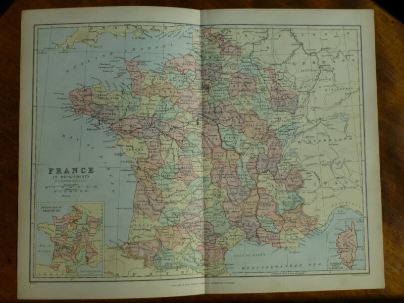 1874 ENGRAVING MAP - FRANCE in Departments - Provinces