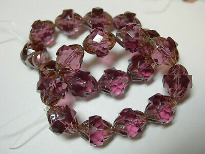 10 11x10mm Czech Glass Faceted Amethyst Purple Luster Turbine Beads