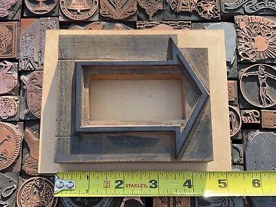 Large Antique Vtg Wood Arrow Border Letterpress Print Type Cut Ornament Block