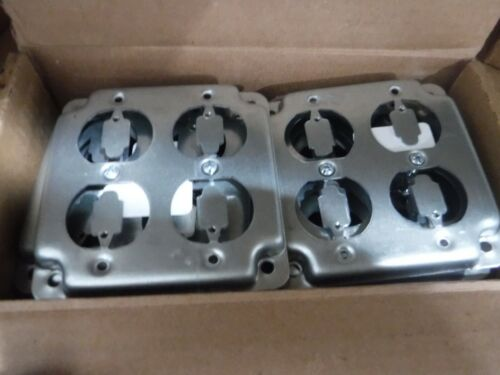 """(CASE OF 10) Steel City RS-8 10R- 4"""" Square Boxes Work Cover Two Duplex Receptac"""