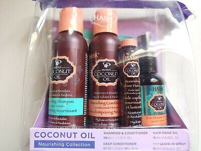Hask Coconut Oil Nourishing Collection 5 Pc Hair Care Travel Gift Set New