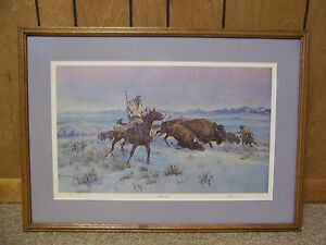 "Ace Powell Framed Western Art Print ""Buffalo Hunt"" Signed Numbered Limited Ed."