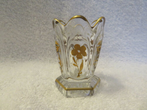 Framed Ovals Clear Glass Toothpick Holder Decorated with Gold Flowers & Accents